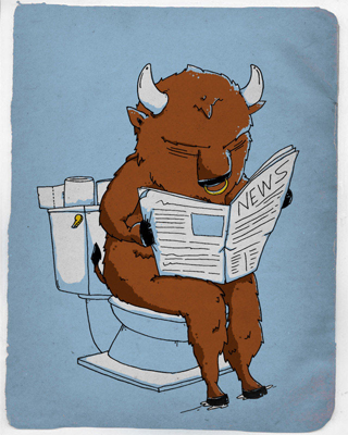 bull going to the bathroom